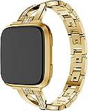 Classicase Edelstahlarmband für Uhr, Metall Uhrenarmbänder kompatibel mit Fitbit Versa 2 / Versa 2 SE/Versa Lite/Versa smartwatch, Schnellverschluss geeignet für Damen&Herren (Pattern 3)