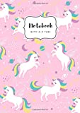 Notebook with A-Z Tabs: A5 Medium Lined Journal | Alphabetical Indexes | Star Zodiac Unicorn Design Pink