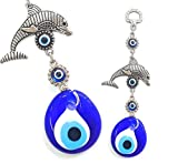 Perlin Nazar Boncuk Boncugu Türkisch Blau Auge, Evil Eye, Delfin, Wandbehang 17cm Ornament Amulett Dekoration Home Decor Schutz Segen Geschenk Glasperlen Anhäng