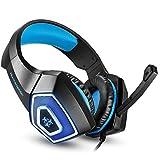 SWNN-Headset. Kopfhörer, Stereo Bass Spiel Gaming Headset, for for PS4-PC-Spiel Mit, Head-Mounted RGB Bunten Wired Headset Mit Weizen (rot/Blau) (Color : Blue)