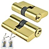 GZLCEU 2 Stück Zylinderschloss, Doppel Schließzylinder Messing mit 8 Schlüssel Türschloss für Holz, Verbund, UPVC und Metalltüren (65*17*30mm, Gold)