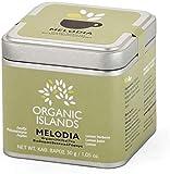 Organic Islands Melodia Griechische Teemischung mit Zitronenverbene, Zitronenmelisse und Zitronenschale von Naxos, Griechenland in Metallbox 28,35gr, 2er Pack
