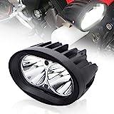 BeiLan Zusatzscheinwerfer Motorrad LED,Scheinwerfer Motorrad,Nebelscheinwerfer Motorrad Schwarz,LED Arbeitsscheinwerfer,Spotlicht Lampe 12V 24V 20W 1800LM Cree 6500