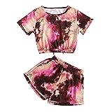 TUDUZ Mädchen Shorts und Top Sets Damen Sommer Strand Zweiteiler Tie-Dye Kurzarm T-Shirts + Stretchbund Shorts Sports Sets(Rot,XXL)