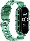 Chainfo Unisex Silikon Uhrenarmbänder kompatibel mit Xiaomi Mi Band 5 / Xiaomi Mi Band 6 / Amazfit Band 5, Gebürstete Edelstahl Schwarz Schnalle (Pattern 4)