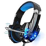 Igrome Gaming Headset mit Mikrofon, Stereo Bass Surround, LED Licht, B