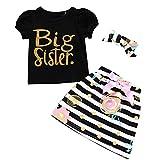 DERCLIVE T-Shirt für Neugeborene, kleine Schwester, mit passendem Oberteil, Große Schwester, 6-12 M