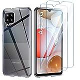 AROYI Samsung Galaxy A42 5G Hülle + [2 Stück] Panzerglas Schutzfolie, Durchsichtig Case Transparent Silikon TPU Schutzhülle 9H Härte HD Panzerglasfolie Glas für Samsung Galaxy A42 5G