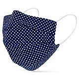 tanzmuster ® Gesichtsmaske für Kinder - Stoffmaske mit Nasenbügel und Filtertasche - Alltagsmaske waschbar - 100% Baumwolle OEKO-TEX Standard 100. Hauchdünn Dunkelblau-Weiß-gepunktet S