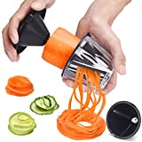 XREXS Spiralschneider Hand für Gemüsespaghetti 2 in 1 Gemüseschneider, Gemüse Spiralschneider für Karotte, Gurke, Zucchini, Gemüsenudeln, Zucchini Spaghetti Schneider, Gemüsenudeln Sp