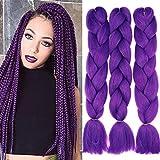 Cybelleza 24 Zoll Jumbo Flechten Hair Extensions Colorful Jumbo Braids Braiding Kunsthaar Haarteile Synthetik Haar 3 Stücke Crochet Twist Box 3PCS 60cm (Dunkelviolett)