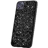 JAWSEU Kompatibel mit iPhone 11 Pro Max Hülle,Glänzend Bling Glitzer Kristall Strass Diamant Hart PC Hülle Weiche TPU Bumper Silikon Handyhülle Schutzhülle für iPhone 11 Pro Max, Schw