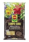 Compo SANA Qualitäts-Blumenerde mit 12 Wochen Dünger für alle Zimmer-, Balkon- und Gartenpflanzen, Kultursubstrat, 10 Liter, B