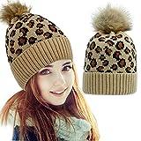 HelloCreate Damen Strickmütze, warm, weich, Strickmütze, Leopardenmuster, modischer Winter-B