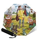 Snow White 7 Zwerge dreifach faltbarer Regenschirm öffnet und schließt automatisch, faltbar, Reise-UV-Schutz und ist faltbar und bequem zu trag