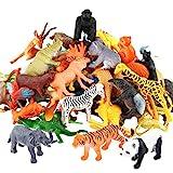 Tierfiguren, 54 Stücke Mini-Spielzeugset von Dschungel-Tieren, Tierwelt, lebensechte Wildtiere, Lernstoffe, Partyzubehör, Spielzeuge für Jungs und Kinder, Playset von Tieren im Wald und kleinen F