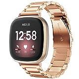 V-MORO Kompatibel mit Fitbit Versa 3 Armband Fitbit Sense Armband,Solide Edelstahl Metall Ersatz Band Uhrenarmband Armband für Versa 3 Smart Watch Schwarz Silber Roségold (Rose Gold)