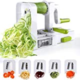 Sedhoom Spiralschneider mit 5 Klingen Faltbare Gemüse Spaghetti Gemüseschneider Für Gurke Kartoffel Zucchini Noodle Mit Saugnap