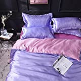 Exlcellexngce Bettbezug,Einfache Einfache Farbe Sommer EIS Seide Cool FüHle Doppelt ErhöHte BettwäSche Seide Seide Doppelbett Einzeln Kissen-X_2.0m Bett (4 StüCke)