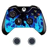 Sololife Xbox One Controller Skin mit zwei Silikon-Daumengriffkappen für Microsoft Xbox One DualShock Wireless Controller Blue F