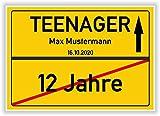 Von 12 Jahre zum Teenager - Ortsschild - Bild - persönliches Geschenk zum 13 Geburtstag mit Name und Datum - personalisierte Geschenkidee Hinweisschild Party Deko Karte Junge M