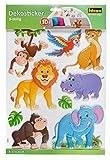 Idena 31260 - Dekosticker in 3D Optik, Wildtiere Löwe, Affe, Elefant Nilpferd und Co, 9 teilig
