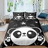 Homewish Panda Bedding Set 3pcs for Kids Boys Girls White Black Comforter Cover Cute Cartoon Pandas Stars Printed Duvet Cover Set Animal Bedspread Cover with 2 Pillow Cases(No Comforter) Full S