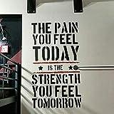 Wandtattoo, Motiv: The Pain You Feel Today, für Zuhause, Fitness, Krafttraining, 50 x 90