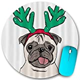 Rundes Mauspad, Weihnachtskarte Mops Hund in Horn Deer, rutschfeste Gummibasis Office Home Mauspads Klein 7,9x7,9 in Mouse M