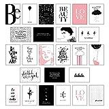 Schönes Postkarten Set mit 25 modernen und stylishen Postkarten zum Dekorieren oder Verschenken. Feminine Bilder, Sprüche und Statements für Frauen. Hochwertige Spruchkarten in dekorativer Box