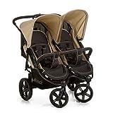 Hauck Roadster Duo SLX Geschwister- und Zwillingskinderwagen bis 36 kg für Babys und Kleinkinder ab Geburt, nebeneinander, schmal, schnell faltbar, große Räder, schwarz beig