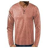 Yowablo Langarmshirt Oversize Longshirt O-Neck Herren T-Shirt Herren Slim Casual O Neck Button Patchwork Langarm Top Bluse ( L,2khaki )