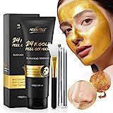 Mitesser Maske, 24 Karat Gold Peel Off Maske, Blackhead Remover Maske, Gold Gesichtsmaske Anti-Aging, Tiefenreinigung, Reduziert feine Linien und Falten Ideal für alle H