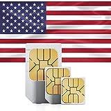 Prepaid-SIM-Karte - 5GB Internet-Daten USA, 5GB Roaming Kanada und Mexiko - Unbegrenzte Anrufe und Texte (15 Tage)