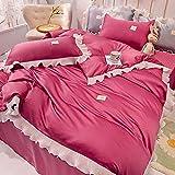 Bedding-LZ bettbezug 200x200,Waschen Die Seide ist Eisseide, vierköpfige Sommerbettwäsche-C_150 cm Bett (4 Stück) - Geeignet für 200x230