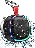 Bluetooth Lautsprecher mit RGB Licht, LENRUE IPX7 Wasserdicht Kabelloser Lautsprecher Musikbox mit DSP Stereo, TWS Technik, 20H Akku, Saugnapf, Tragbare Bluetooth Speaker Box für Handy Dusche O