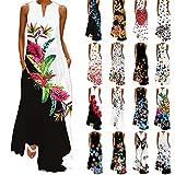 TUDUZ Frauen Sommer Vintage Boho Maxi Abend Party Kleid Elegant Strand Große Größen Blumenkleid V-Ausschnitt Ärmellos Lang Kleider(Mehrfarbig-B1,XXXXXL)