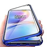 JoiCase Rundum Hülle für OnePlus 8 Pro Magnetische Adsorption Handyhülle 360 Grad Schutzhülle Stark Magneten Aluminiumrahmen Gehärtetes Glas Stoßfest Metall Flip Cover, B