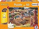 Schmidt Spiele 56191 Wild Life, An der Wasserstelle, 60 Teile Kinderpuzzle mit Schleih Fig