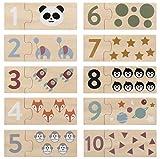 Kindsgut Lernspiel Zahlen aus Holz, spielerisch bis 10 Zählen mit dem Kinder-Puzzle, Lernpuzzle mit schönen Motiven, Schlichtes Design und dezente Farben, Kinderspiel Z