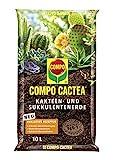 COMPO CACTEA Kakteen- und Sukkulentenerde mit 8 Wochen Dünger für alle Kakteenarten und dickblättrige Pflanzen, Kultursubstrat, 10 L