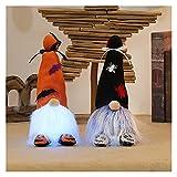 Halloween Deko, Halloween Wichtel Plüsch mit Licht, Wichtel Puppe, Wichtel Plüschtier, Gesichtslose Puppe, Halloween Dekoration Ornamente (2pcs B)