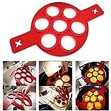 Utopp fantastischer Pfannkuchenmacher aus Silikon mit 7 Öffnungen, auch als Eier-Ring für Spiegeleier geeignet, Anti-Haft-Funk