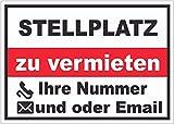 Stellplatz zu vermieten Aufkleber A7 (74x105mm)