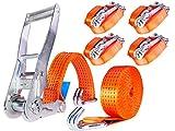 INDUSTRIE PLANET 4 Stück 5000kg 6m Spanngurte mit Ratsche und Haken 2 teilig zweiteilig Ratschengurte Zurrgurte 50mm 5000 daN 5