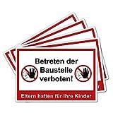 5 Stück Betreten der Baustelle verboten Eltern haften für Ihre Kinder Schild 20 x 30 cm aus Stabiler PVC Hartschaumplatte 3mm mit UV-Schutz von STROBO