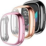 Mastten Displayschutzfolie kompatibel mit Fitbit Versa 3, 3er Pack, weiche TPU-HD-Schutzhülle, kratzfest, kompatibel mit Versa 3/Sense Smartwatch, Schwarz Rosegold Pink