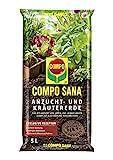 COMPO SANA Anzucht- und Kräutererde mit 6 Wochen Dünger für alle Jung- und Kräuterpflanzen, Kultursubstrat, 5 L