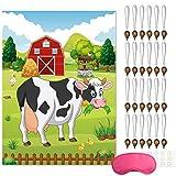 FEPITO Pin The Tail auf der Kuh Geburtstagsfeier Spiel mit 24 Stück Schwänze für Farm Party Dekorationen, Kinder Geburtstagsfeier Dek