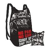 SKGQZD Backpack Rucksack Arnold Zitat Conquer Pose Gym Bodybuilding Workout Männer und Wasserdichter tragbarer Klapprucksack Reisesport Shopping